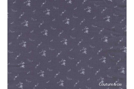 Double gaze FDS bleu marine fleurs argent