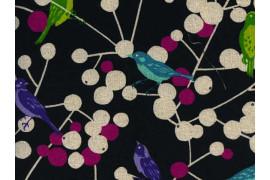 Tissu Echino coton lin oiseaux noir