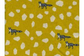 Tissu Echino Stone jaune moutarde x10cm