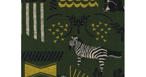 Tissu Echino Habitat kaki x10cm dans TISSUS JAPONAIS par Couture et Cie
