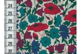 Liberty Poppy & Daisy bleu canard et rouge