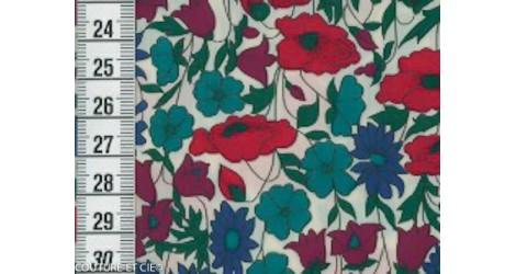 Liberty Poppy & Daisy bleu canard et rouge dans LIBERTY OF LONDON par Couture et Cie