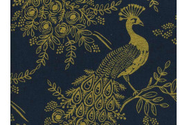 Tissu Rifle paper Co Menagerie Royal peacock Canvas x10cm