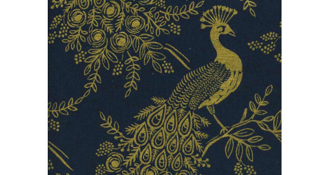 Tissu Rifle paper Co Menagerie Royal peacock Canvas x10cm dans COTTON + STEEL par Couture et Cie