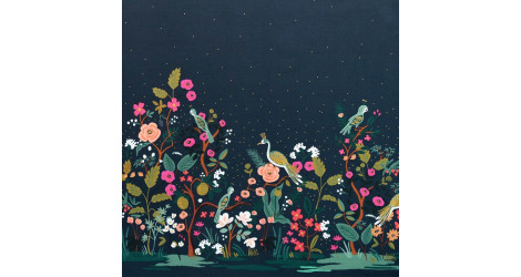 Tissu Rifle paper English garden Growing Garden navy x10cm dans COTTON + STEEL par Couture et Cie