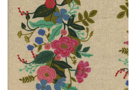Tissu Rifle paper English garden Floral Vines crème Canvas x10cm