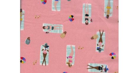 Tissu Rifle Paper Amalfi Corail Sun Girls x10cm dans COTTON + STEEL par Couture et Cie