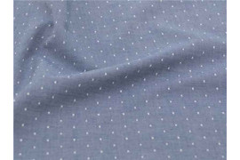 Chambray bio à pois denim x10cm
