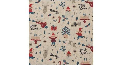 Tissu Noël Elfes x10cm dans Tissus Noël par Couture et Cie
