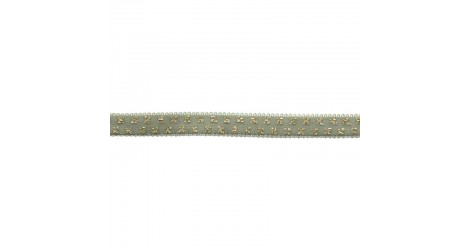 Elastique vert celadon pois lurex doré 10mm, x10cm