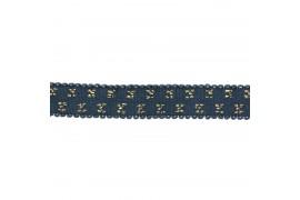 Elastique bleu jean pois lurex doré 10mm, x10cm