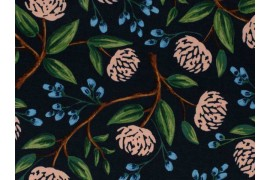Tissu Canvas Rifle Paper Wildwood Peonies Blue navy, x10cm