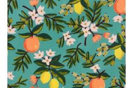 Tissu Rifle Paper Citrus Floral Teal, x10cm