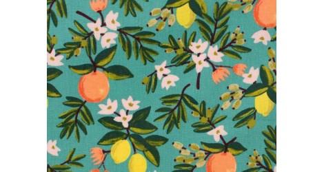 Tissu Rifle Paper Primavera Citrus Floral Teal, x10cm dans Rifle Paper Co par Couture et Cie