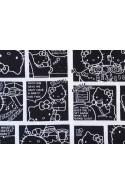 Tissu Hello Kitty noir BD, x10cm