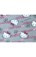 Tissu Hello Kitty Oxford gris, x10cm