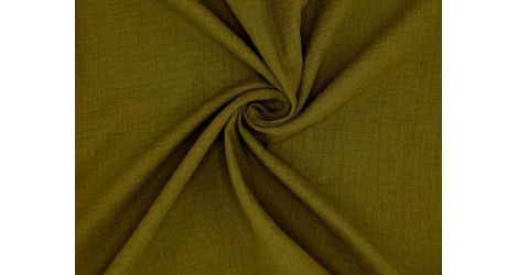 Tissu double gaze coton vert bronze, x10cm