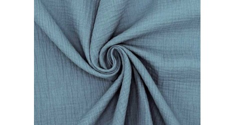 Double gaze coton bleu jean, x10cm