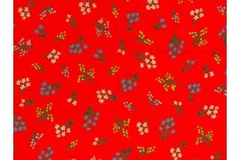 Tissu Rifle Paper Strawberry Fields rouge, x10cm