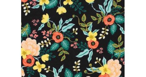 Tissu Rifle Paper Primavera Birch noir, x10cm dans Rifle Paper Co par Couture et Cie