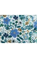 Tissu Rifle Paper Garden Party Wild rose bleu metallic, x10cm