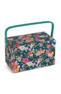 Boîte à couture fleurie verte