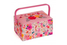 Boîte à couture fleurie rose fleurs brodées