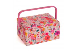 Boîte à couture fleurie rose