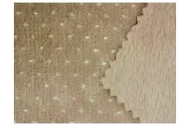 Tissu Minky pois argent couleur taupe, x10cm