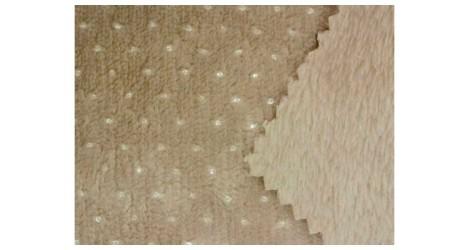 Tissu Minky pois argent couleur taupe, x10cm dans Teddydou / Minky par Couture et Cie
