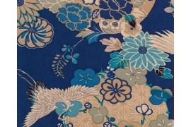 Tissu Japonais Kokka Japanese Modern grue bleu, x10cm