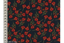 Liberty Ros marine fleurs rouges