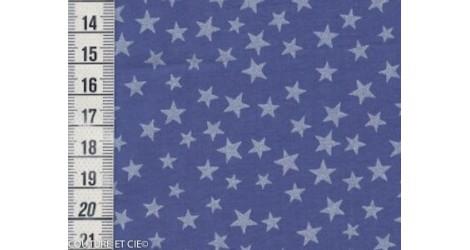 Batiste bleue étoiles nacrées dans Tissus par Couture et Cie