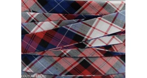 Biais carreaux rouge et bleu dans BIAIS par Couture et Cie
