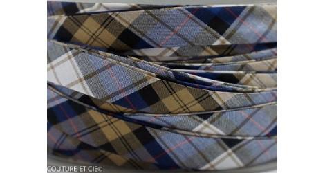 Biais carreaux bleu et sable dans BIAIS par Couture et Cie
