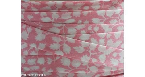 Biais Glenjade rose fleurs blanches dans BIAIS par Couture et Cie