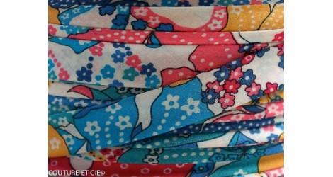 Biais Liberty Mauvey turquoise, x10cm dans BIAIS par Couture et Cie