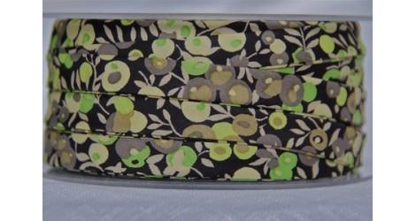 Biais Wiltshire noir et vert x10cm dans Biais Liberty par Couture et Cie