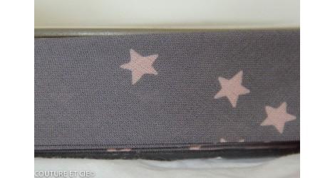 Biais gris à étoiles roses dans Biais France Duval Stalla par Couture et Cie