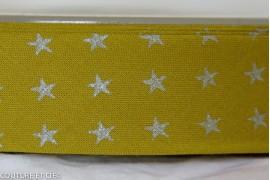Biais olive étoiles argent