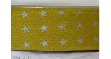 Biais olive étoiles argent dans Biais France Duval Stalla par Couture et Cie
