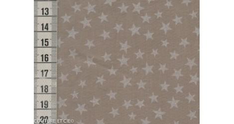 Batiste taupe étoiles nacrées dans Tissus Etoiles par Couture et Cie