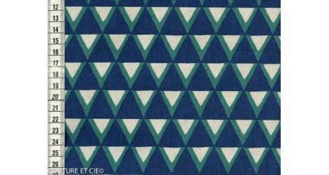 Tissu Kokka Stamped triangles bleus dans TISSUS JAPONAIS par Couture et Cie