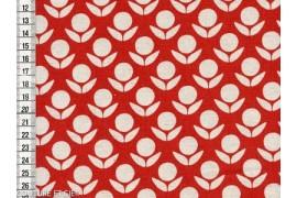 Tissu Kokka Stamped fleurs rouges