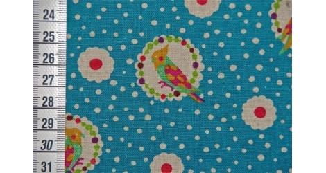 Echino Perroquets fond bleu dans TISSUS JAPONAIS par Couture et Cie