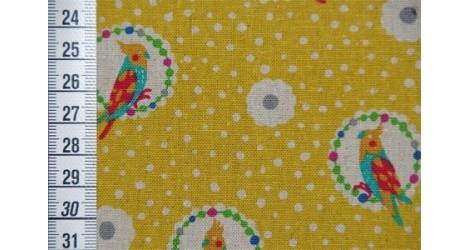 Echino Perroquets fond moutarde dans Echino par Couture et Cie