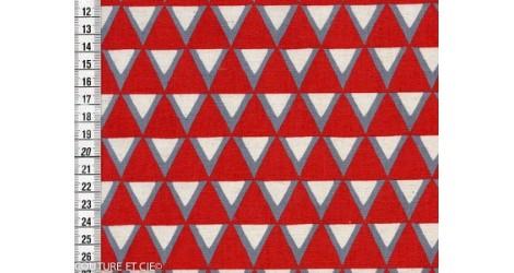 Tissu Kokka Stamped triangles rouges dans TISSUS JAPONAIS par Couture et Cie