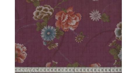 Tissu Japonais pivoine mauve dans Motifs traditionnels par Couture et Cie