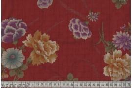 Tissu Japonais pivoine rouge