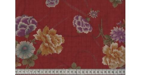 Tissu Japonais pivoine rouge dans TISSUS JAPONAIS par Couture et Cie
